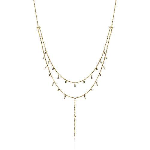 14K Yellow Gold Layered Diamond Station Necklace