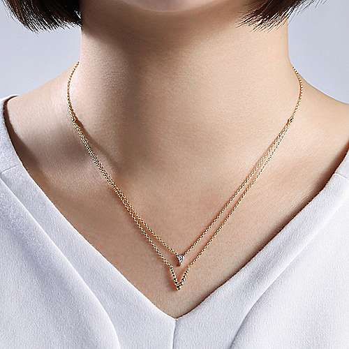 14K Yellow Gold Layered Diamond Triangle and Bujukan Beaded V Necklace