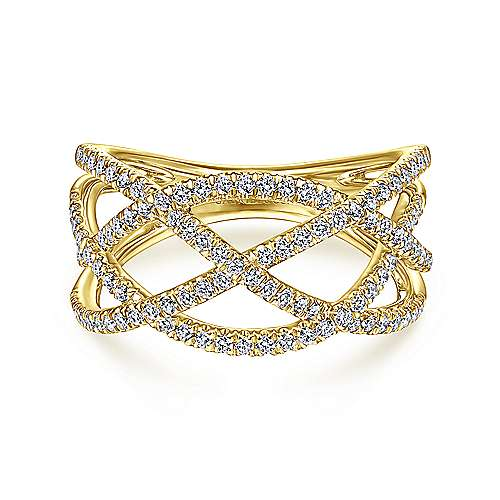 14K Yellow Gold Layered Grid Diamond Ring