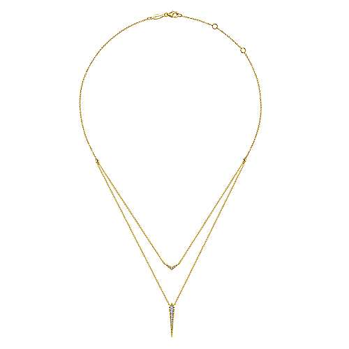 14K Yellow Gold Layered Pavé Diamond Bar and Spike Pendant Necklace