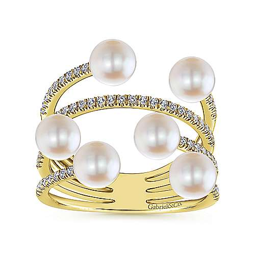 14K Yellow Gold Layered Wide Band Cultured Pearl Ring