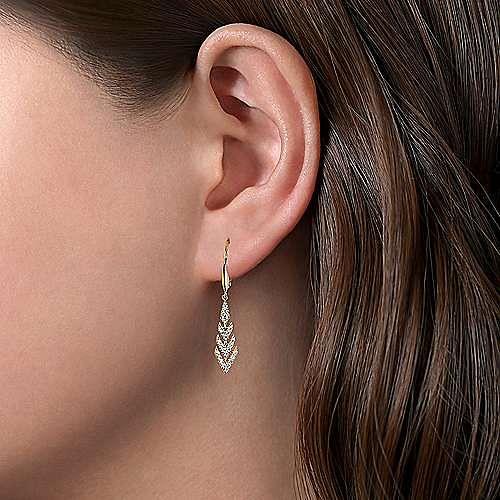 14K Yellow Gold Leverback Graduating Diamond Chevron Drop Earrings