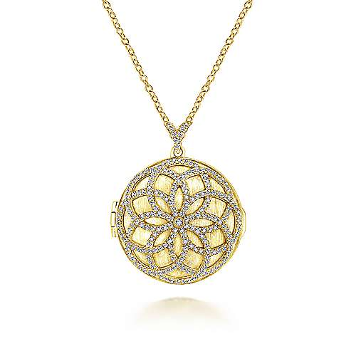 14K Yellow Gold Locket Necklace with Floral Diamond Overlay
