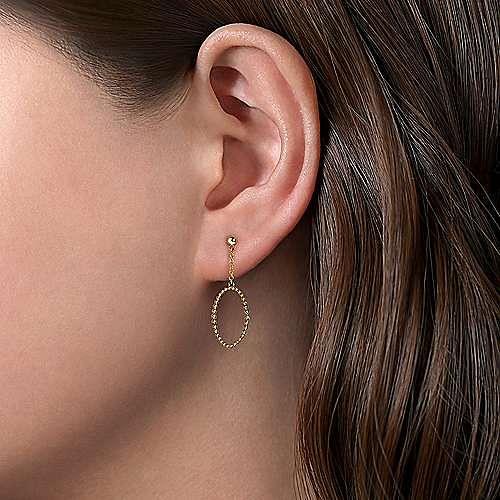 14K Yellow Gold Long Bujukan Oval Drop Earrings