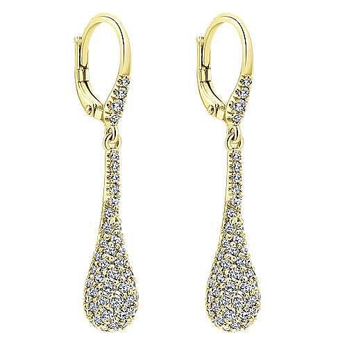 14K Yellow Gold Long Cluster Diamond Teardrop Leverback Earrings