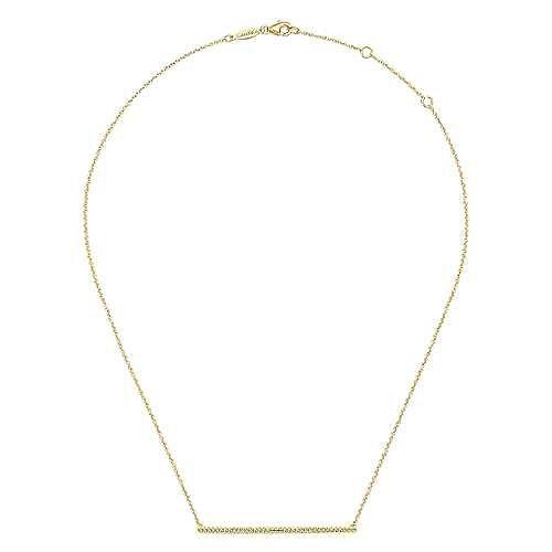 14K Yellow Gold Long Diamond Bar Necklace