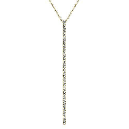 14K Yellow Gold Long Diamond Bar Pendant Necklace