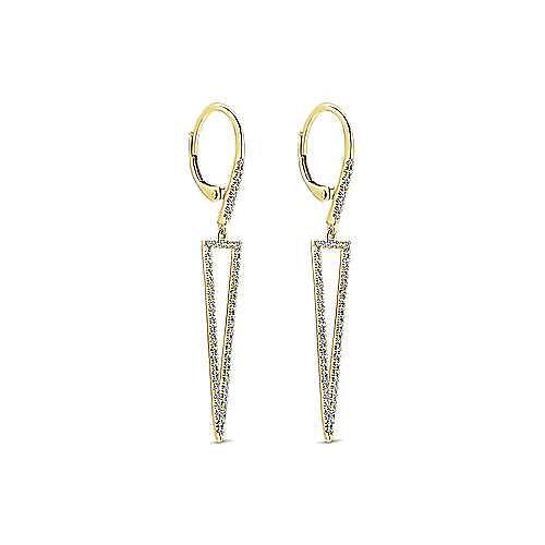 14K Yellow Gold Long Diamond Triangle Drop Earrings