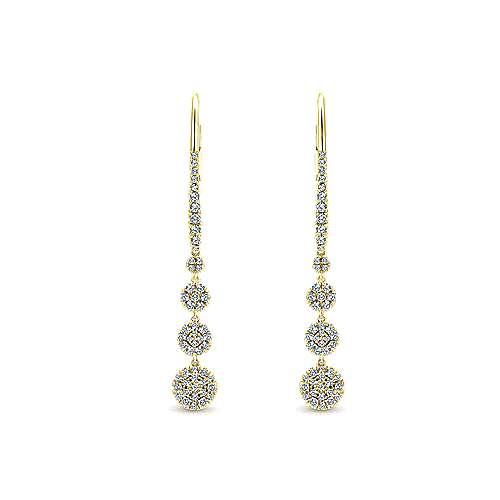 14K Yellow Gold Long Graduating Circle Diamond Drop Earrings