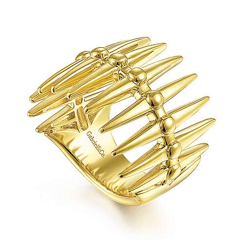 14K Yellow Gold Long Spikes Statement Ring