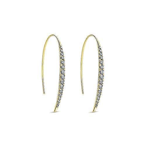 14K Yellow Gold Long Tapered Diamond Threader Earrings