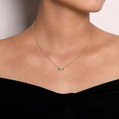 14K Yellow Gold Love Pendant Necklace with Diamond Accent
