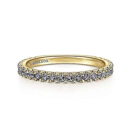 14K Yellow Gold Manmade Alexandrite Stackable Ring