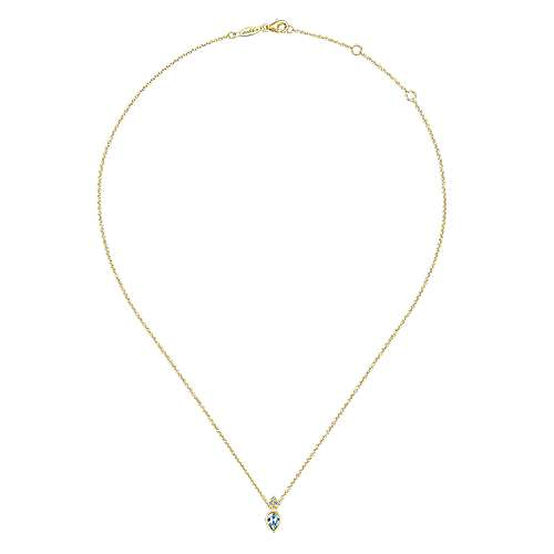 14K Yellow Gold Manmade Aquamarine Pendant Necklace with Diamond Accents