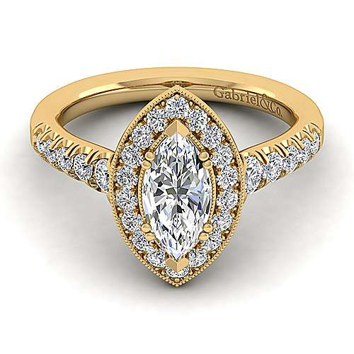 14K Yellow Gold Marquise Halo Diamond Engagement Ring
