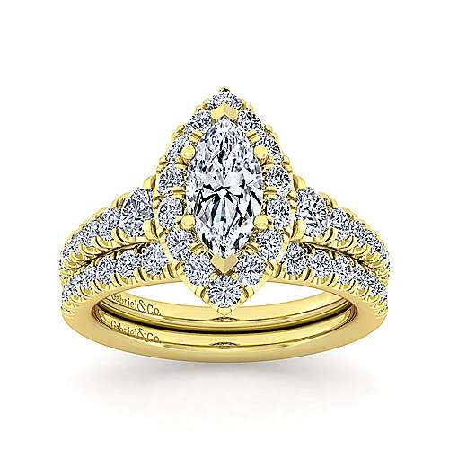 14K Yellow Gold Marquise Halo Diamond Engagement Ring