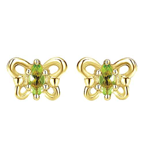 14K Yellow Gold Marquise Peridot Butterfly Stud Earrings