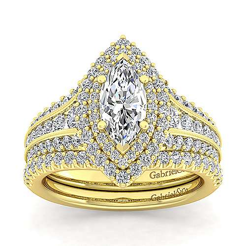 14K Yellow Gold Marquise Shape Diamond Engagement Ring