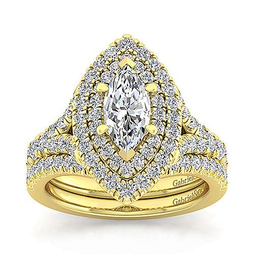 14K Yellow Gold Marquise Shape Double Halo Diamond Engagement Ring