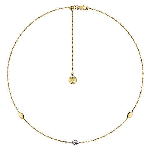 14K Yellow Gold Marquise Shape Plain and Diamond Station Necklace