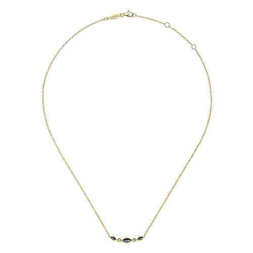 14K Yellow Gold Marquise Shape Sapphire and Bezel Set Diamond Bar Necklace