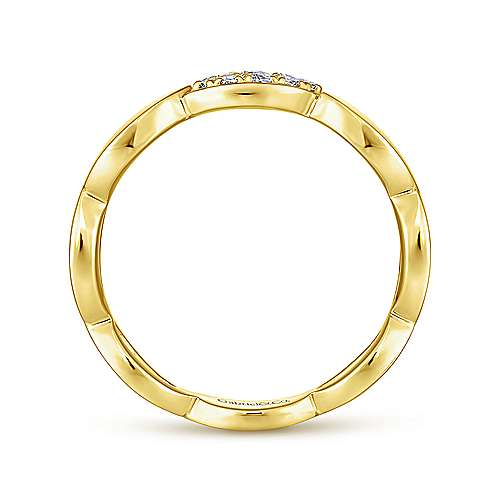14K Yellow Gold Marquise Shape Stackable Ring with Pavé Diamond Station