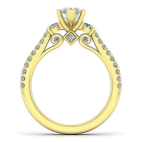 14K Yellow Gold Marquise Shape Three Stone Diamond Engagement Ring