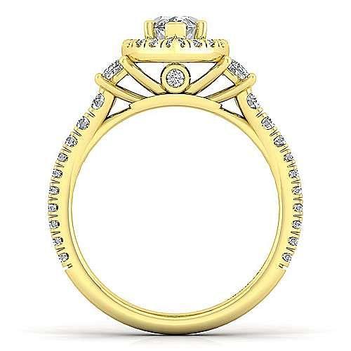 14K Yellow Gold Marquise Shape Three Stone Halo Diamond Engagement Ring