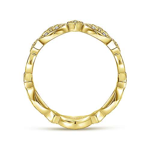 14K Yellow Gold Marquise Station Cluster Diamond Stackable Ring