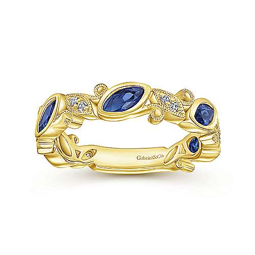 14K Yellow Gold Marquise Station Sapphire and Diamond Ring