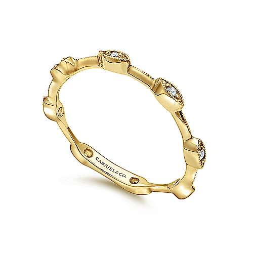 14K Yellow Gold Marquise Station Stackable Diamond Ring