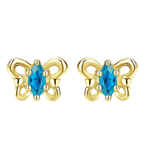 14K Yellow Gold Marquise Swiss Blue Topaz Butterfly Stud Earrings
