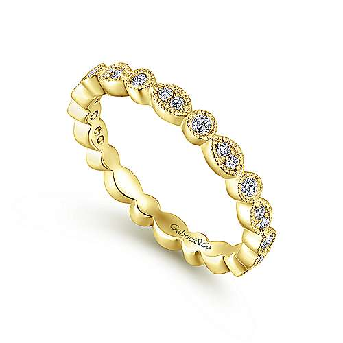 14K Yellow Gold Marquise and Round Station Diamond Eternity Ring