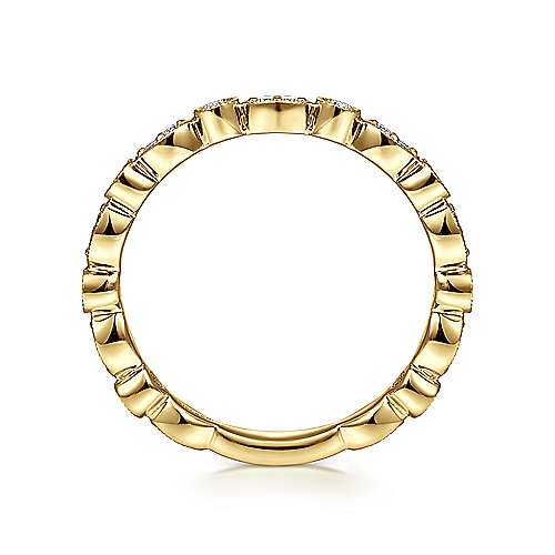 14K Yellow Gold Marquise and Round Station Diamond Ring