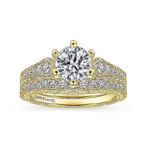 14K Yellow Gold Matching Diamond Wedding Band