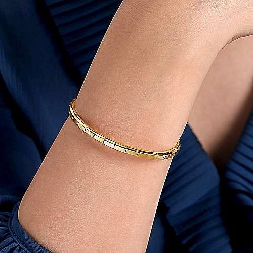 14K Yellow Gold Metal Bead Station Cuff Bracelet