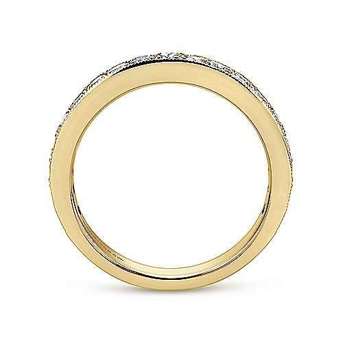 14K Yellow Gold Micro Pavé Set Diamond Wedding Band with Millgrain