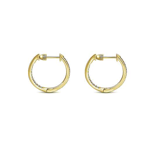 14K Yellow Gold Micro Pave  15mm Round Inside Out Diamond Hoop Earrings