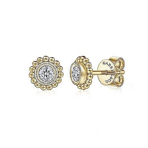 14K Yellow Gold Millgrain Beaded Round Diamond Stud Earrings