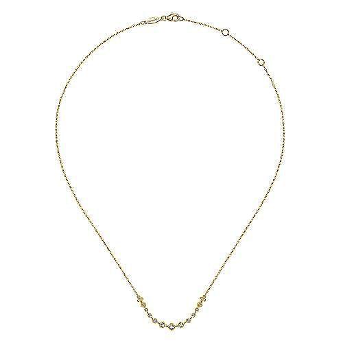 14K Yellow Gold Millgrain Bezel Set Diamond Curved Bar Necklace