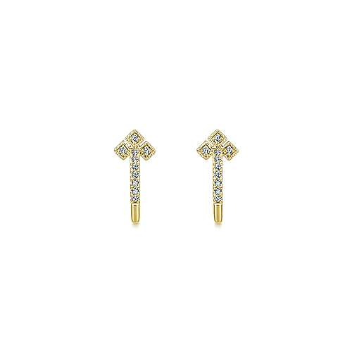 14K Yellow Gold Millgrain Diamond Huggie Earrings