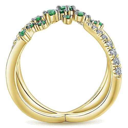 14K Yellow Gold Modern Scattered Emerald & Diamond Ring