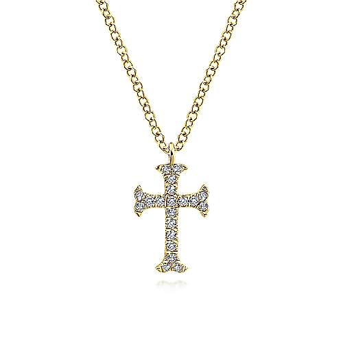 14K Yellow Gold Moline Diamond Cross Pendant Necklace