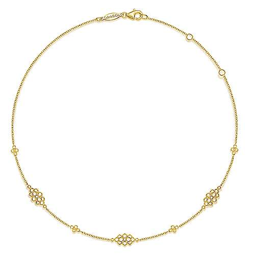 14K Yellow Gold Multi Circle Casted Station Necklace