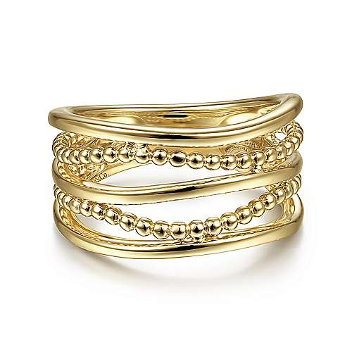 14K Yellow Gold Multi Row Bujukan Bead Curved Ring
