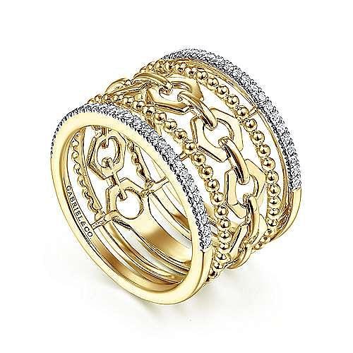 14K Yellow Gold Multi Row Chain Link, Bujukan Bead and Diamond Ring