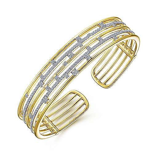 14K Yellow Gold Multi Row Cuff Bracelet with Diamonds