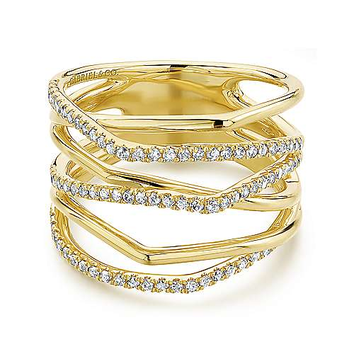 14K Yellow Gold Multi Row Diamond Wide Band