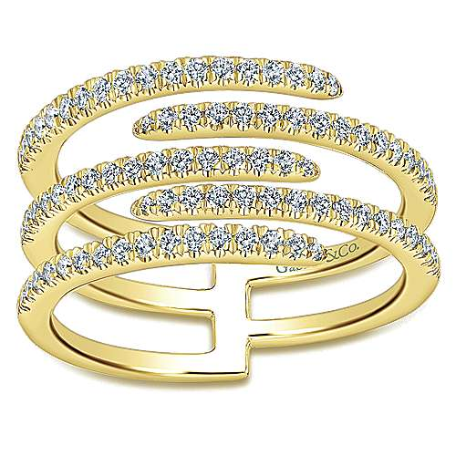 14K Yellow Gold Multi Row Intersecting Diamond Ring