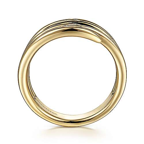 14K Yellow Gold Multi Row Open Claw Ring